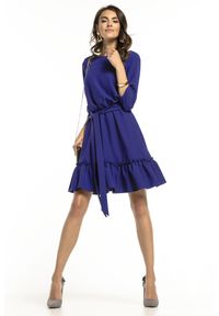 Tessita - Granatowa Lekka Rozkloszowana Sukienka z Falbanką. Kolor: niebieski. Materiał: poliester, elastan