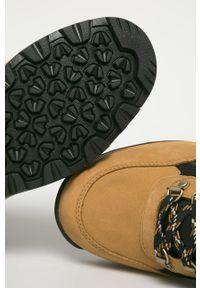 Złote buty trekkingowe Timberland z okrągłym noskiem, z cholewką, na sznurówki