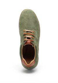 GOE - Półbuty. Nosek buta: okrągły. Zapięcie: sznurówki. Kolor: zielony. Materiał: skóra