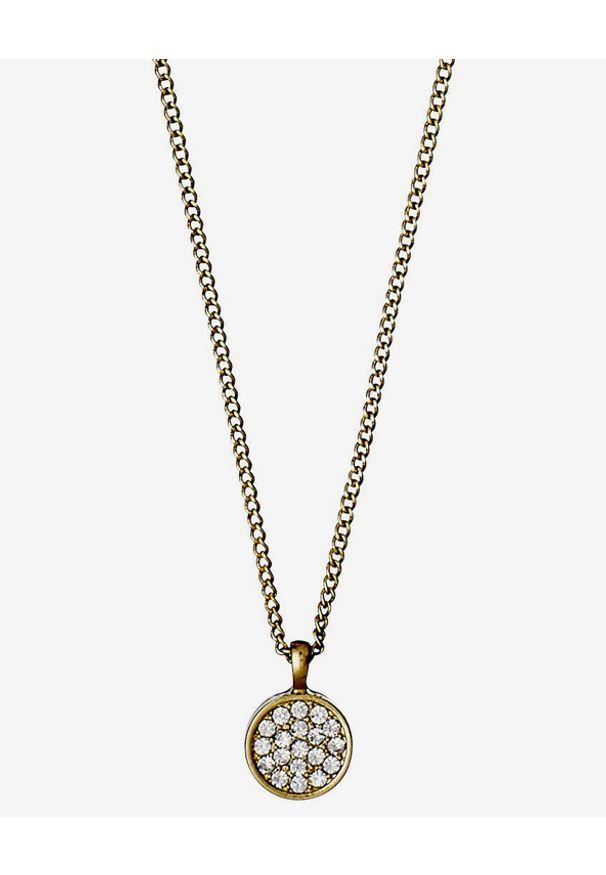 Złoty naszyjnik Pilgrim w kolorowe wzory, z mosiądzu, z kryształem
