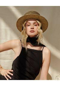 LESHKA - Słomiany kapelusz z lnianymi paskami Zorro Straw Hat. Kolor: czarny. Materiał: len. Wzór: aplikacja. Sezon: lato