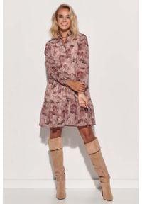 Makadamia - Romantyczna Sukienka w Kwiatowy Wzór - Model 9. Materiał: poliester. Wzór: kwiaty