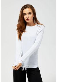 Srebrny sweter MOODO długi, z długim rękawem, z okrągłym kołnierzem