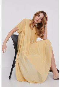 Samsoe & Samsoe - Samsoe Samsoe - Sukienka. Kolor: żółty. Materiał: poliester. Długość rękawa: krótki rękaw. Typ sukienki: plisowane #8