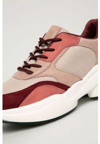 Różowe buty sportowe Answear Lab na sznurówki, na średnim obcasie