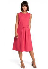 BE - Swobodna trapezowa sukienka z dodatkiem lnu. Materiał: len. Długość rękawa: bez rękawów. Typ sukienki: trapezowe. Długość: midi
