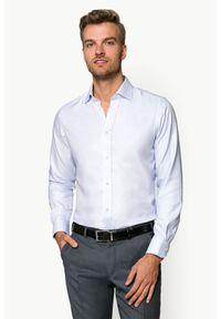 Lancerto - Koszula Błękitna Mikrowzór Blossom 2. Kolor: niebieski. Materiał: bawełna, tkanina. Wzór: haft, ze splotem. Styl: klasyczny, elegancki