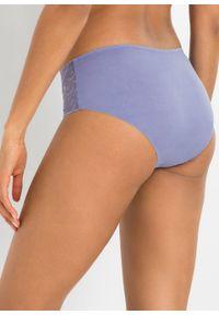 Figi panty bezszwowe bonprix jasny lawendowy. Kolor: fioletowy. Wzór: haft