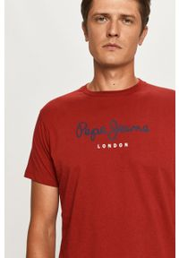 Brązowy t-shirt Pepe Jeans z nadrukiem, na co dzień