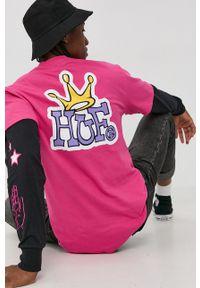 HUF - T-shirt bawełniany. Okazja: na co dzień. Kolor: fioletowy. Materiał: bawełna. Wzór: nadruk. Styl: casual