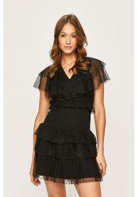 Czarna sukienka Liu Jo dopasowana, mini, z krótkim rękawem