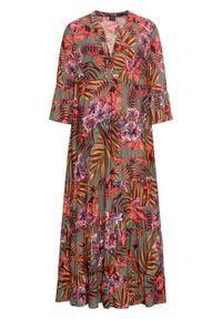 Długa sukienka z nadrukiem bonprix oliwkowo-czerwony w kwiaty. Kolor: zielony. Wzór: nadruk, kwiaty. Długość: maxi