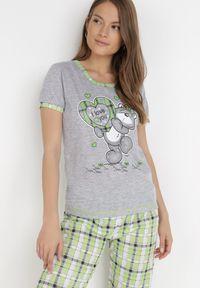 Born2be - Szaro-Zielony 2-Częściowy Komplet Piżamowy Bolipeia. Kolor: szary. Materiał: bawełna. Wzór: gładki, aplikacja, nadruk