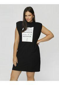 Madnezz - Sukienka T-shirt - Prosecco might be the answer. Okazja: na imprezę. Materiał: wiskoza, elastan. Wzór: nadruk