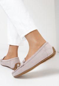 Born2be - Liliowe Mokasyny Aglaomei. Nosek buta: okrągły. Zapięcie: pasek. Kolor: fioletowy. Materiał: jeans. Obcas: na płaskiej podeszwie. Styl: klasyczny, elegancki
