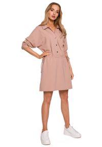 MOE - Bawełniana Sukienka z Kołnierzykiem - Mocca. Materiał: bawełna