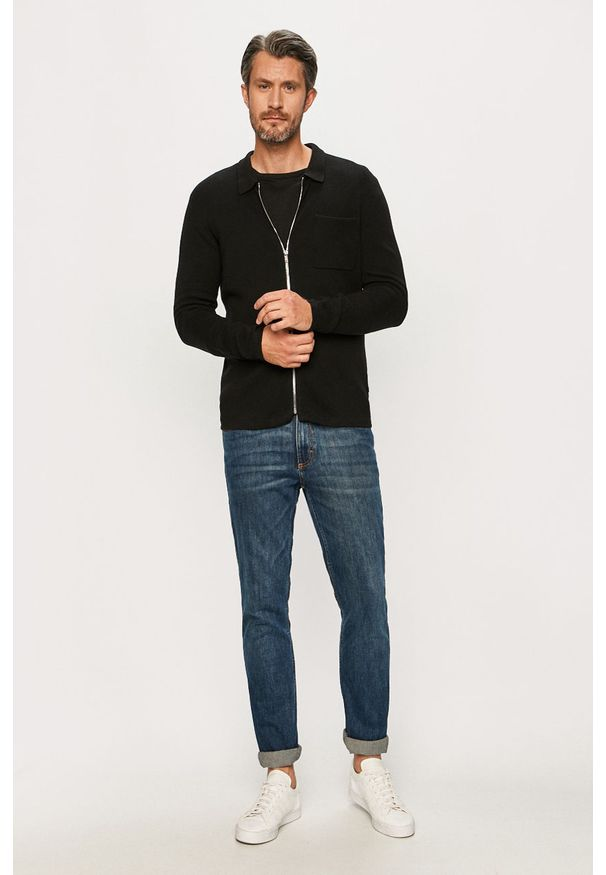 Czarny sweter rozpinany Clean Cut Copenhagen na co dzień, casualowy