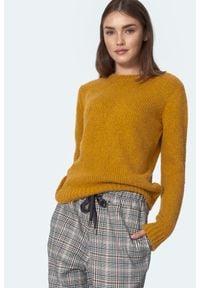 Nife - Gładki Sweter z Półkrągłym Dekoltem - Musztardowy. Kolor: żółty. Materiał: wełna, akryl, poliamid. Wzór: gładki