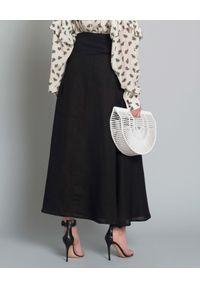 SARAH PACINI - Spódnica z lnu. Okazja: na co dzień. Kolor: czarny. Materiał: len. Styl: elegancki, casual