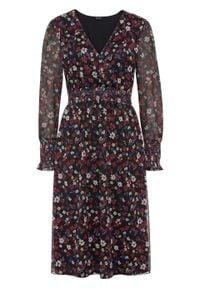 Sukienka z siatkowego materiału z nadrukiem i przeszyciem cienkimi gumkami bonprix czarno-pomarańczowo-czerwony w kwiaty. Kolor: czarny. Materiał: materiał. Wzór: kwiaty, nadruk. Długość: midi