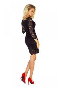 Numoco - Zjawiskowa dopasowana koronkowa sukienka. Materiał: koronka. Długość rękawa: krótki rękaw. Wzór: koronka