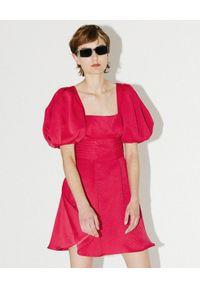SELF PORTRAIT - Sukienka z bufiastymi rękawami. Okazja: na imprezę. Typ kołnierza: dekolt kwadratowy. Kolor: różowy, wielokolorowy, fioletowy. Długość: mini