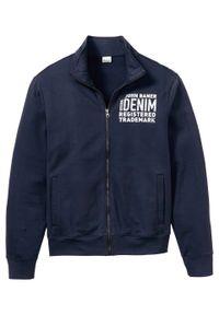 Bluza rozpinana bonprix ciemnoniebieski z nadrukiem. Typ kołnierza: kołnierzyk stójkowy. Kolor: niebieski. Wzór: nadruk