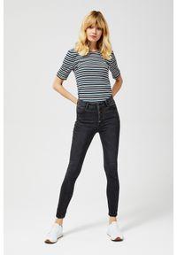 Czarne jeansy MOODO z podwyższonym stanem, długie