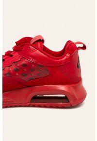 Czerwone sneakersy Jordan na sznurówki, z cholewką, z okrągłym noskiem
