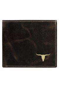 BUFFALO WILD - Portfel męski skórzany RFID Buffalo Wild brązowy RM-01-BAW. Kolor: brązowy. Materiał: skóra