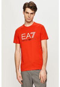 Czerwony t-shirt EA7 Emporio Armani z nadrukiem, casualowy, na co dzień