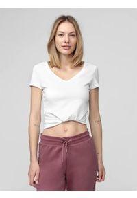4f - T-shirt damski. Kolor: biały. Materiał: dzianina, bawełna