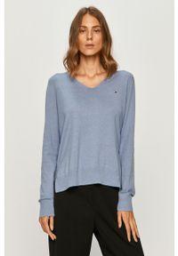 Niebieski sweter TOMMY HILFIGER długi, casualowy, na co dzień, melanż