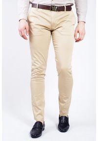Beżowe spodnie Armani Jeans klasyczne, z aplikacjami
