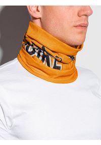 Ombre Clothing - Komin męski A386 - pomarańczowy - uniwersalny. Kolor: pomarańczowy. Materiał: poliester