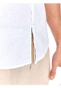 TOP SECRET - Koszula długi rękaw męska shaped fit. Kolor: biały. Materiał: materiał, len. Długość rękawa: długi rękaw. Długość: długie. Styl: elegancki