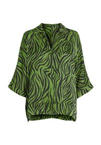 Amy's Stories Bluzka Zoè zielony zebra female zielony S (34/36). Okazja: na imprezę. Typ kołnierza: dekolt w serek, kołnierzyk koszulowy. Kolor: zielony. Materiał: wiskoza. Długość: długie. Wzór: motyw zwierzęcy. Styl: elegancki