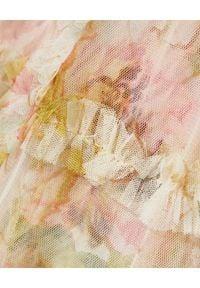 NEEDLE & THREAD - Sukienka Harlequin Rose Ruffle. Okazja: na co dzień, na imprezę. Typ kołnierza: kołnierz z falbankami. Kolor: beżowy. Materiał: tiul, materiał. Wzór: nadruk, aplikacja. Styl: wizytowy, elegancki, casual