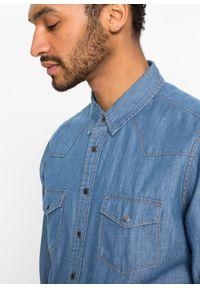 """Koszula dżinsowa Slim Fit, długi rękaw bonprix jasnoniebieski """"bleached"""". Kolor: niebieski. Długość rękawa: długi rękaw. Długość: długie"""