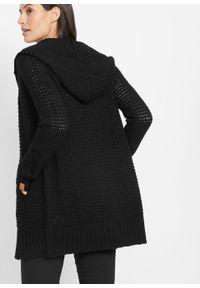 Sweter rozpinany z kapturem bonprix czarny. Typ kołnierza: kaptur. Kolor: czarny