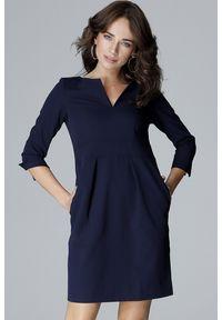 Lenitif - Elegancka sukienka z podwyższoną talią dekolt V granatowa. Okazja: do pracy. Kolor: niebieski. Styl: elegancki