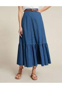 Luisa Spagnoli - LUISA SPAGNOLI - Jeansowa spódnica maxi Tatiana. Okazja: na co dzień. Kolor: niebieski. Materiał: jeans. Styl: klasyczny, casual