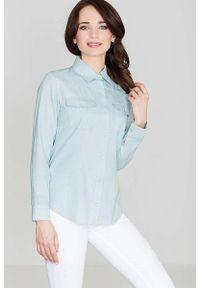 Katrus - Bawełniana Klasyczna Koszula na Zatrzaski - Niebieski. Kolor: niebieski. Materiał: bawełna. Styl: klasyczny
