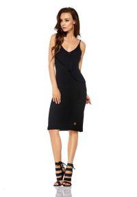 Lemoniade - Czarna Sukienka Swetrowa na Cienkich Ramiączkach. Kolor: czarny. Materiał: bawełna, akryl. Długość rękawa: na ramiączkach