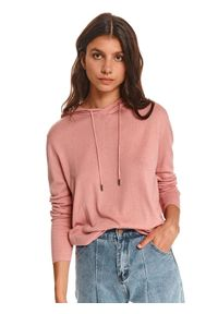 TOP SECRET - Nierozpinana bluza damska z kapturem. Typ kołnierza: kaptur. Kolor: różowy. Materiał: dzianina. Długość rękawa: długi rękaw. Długość: długie. Wzór: gładki. Sezon: jesień