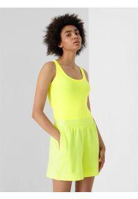 4f - Top basic slim gładki damski. Kolor: zielony. Materiał: dzianina, bawełna. Wzór: gładki