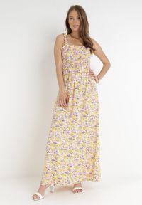 Born2be - Różowo-Żółta Sukienka Kiryasda. Typ kołnierza: dekolt kwadratowy. Kolor: różowy. Długość rękawa: na ramiączkach. Wzór: kolorowy. Typ sukienki: rozkloszowane. Długość: maxi
