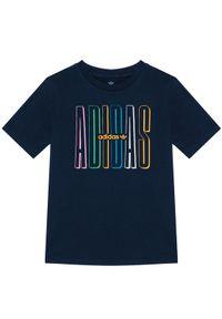 Niebieski t-shirt Adidas z nadrukiem