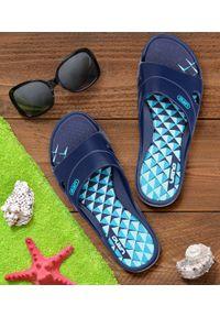 Niebieskie klapki na basen LANO na obcasie, na średnim obcasie, na plażę