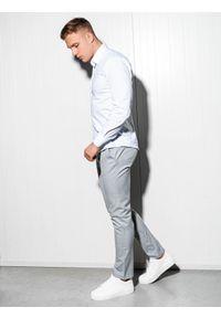 Ombre Clothing - Koszula męska slim z długim rękawem K504 - biała - XXL. Typ kołnierza: kołnierzyk klasyczny. Kolor: biały. Materiał: elastan, bawełna. Długość rękawa: długi rękaw. Długość: długie. Styl: klasyczny, elegancki